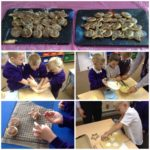 photos of year one pupils in their cooking lesson