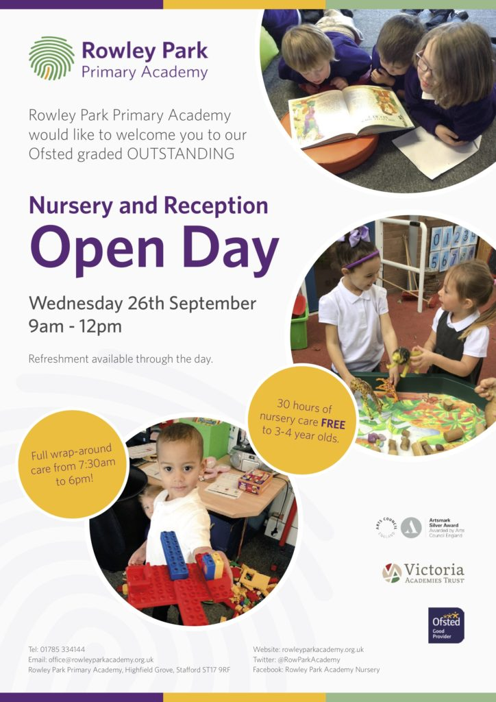 Poster for Rowley Park Primary Academy open Morning, for Nursery and Reception.
