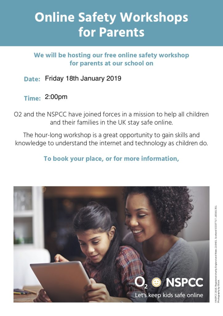 NSPCC Poster - Online Safety Workshop for parents.