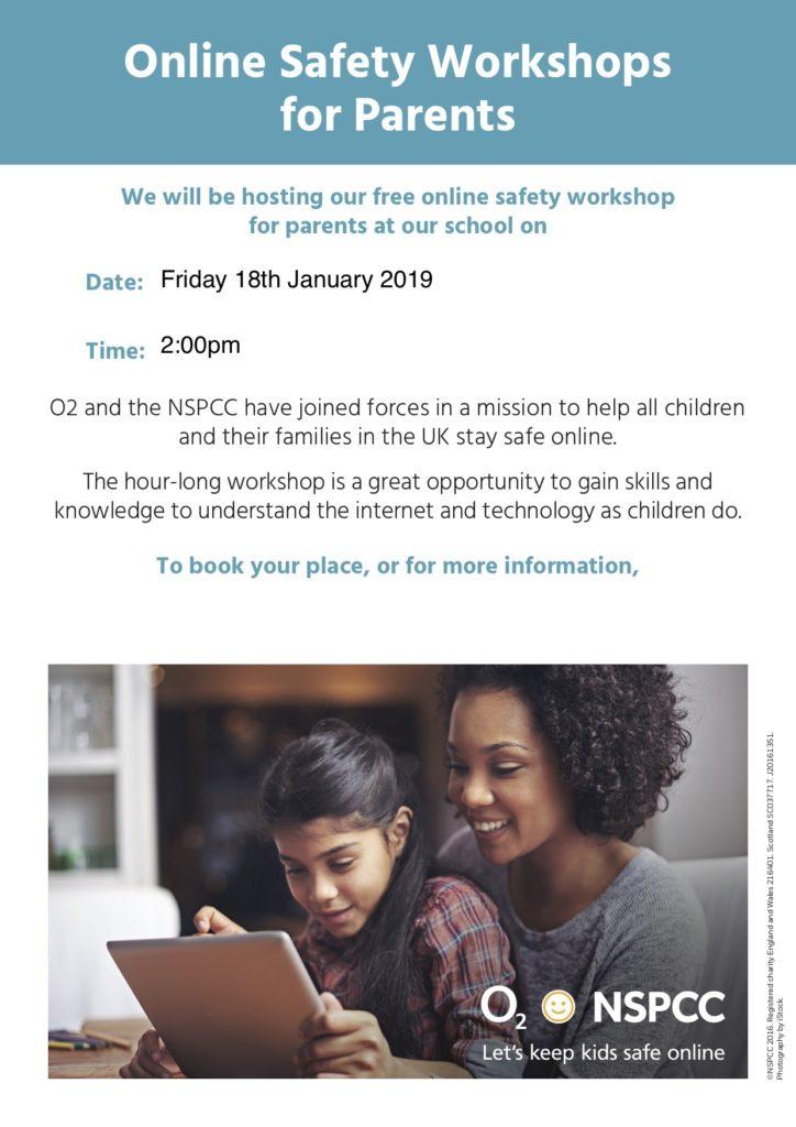 NSPCC Poster - Online Safety Workshop for parents.