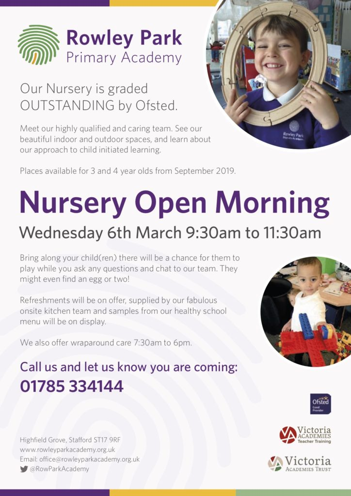 poster for Rowley Park Primary School Nursery Open Morning, Wednesday 6th March 2019