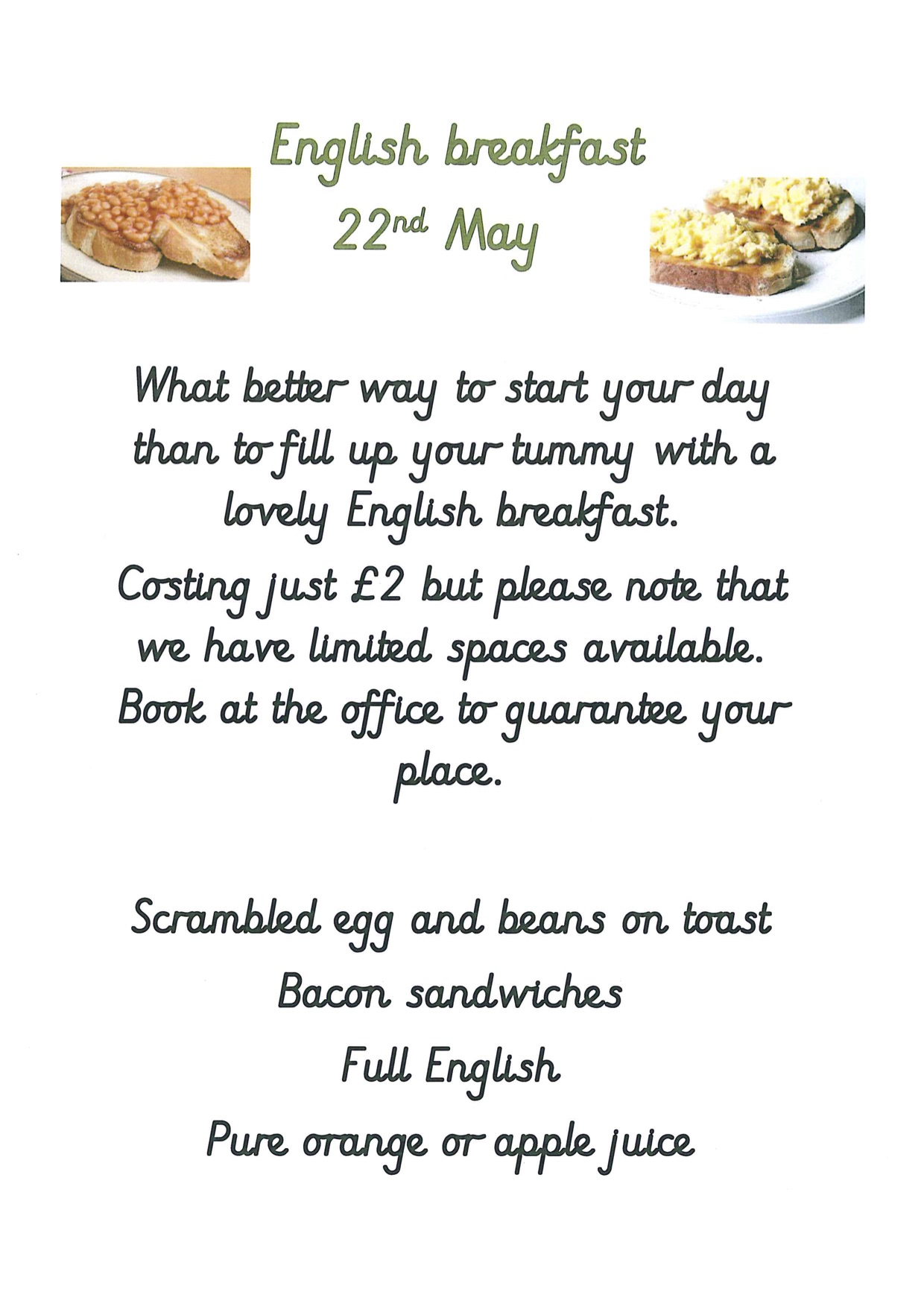 Poster for the Breakfast menu 22nd May 2019